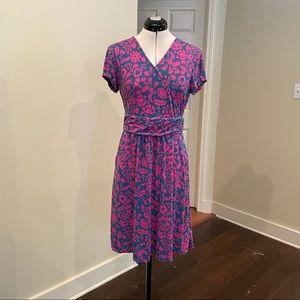 Boden Blue/Pink Floral Faux Wrap Dress, Sz 8